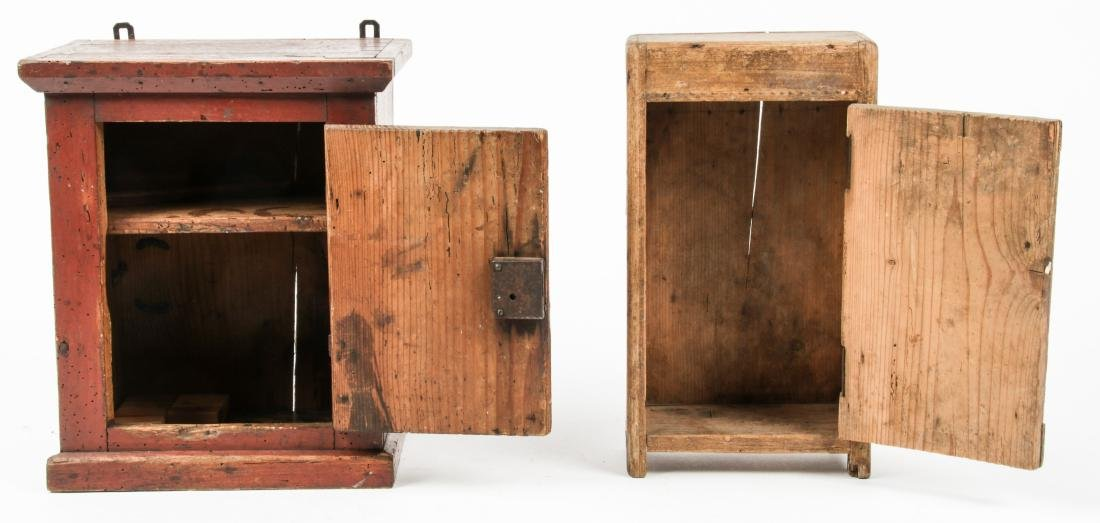 3 Small Antique Wood Cabinets - 2