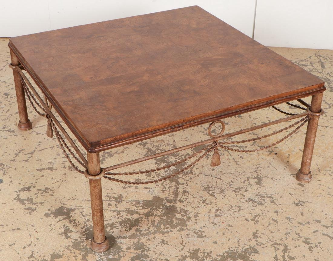 Mid Century Burl Top Square Coffee Table