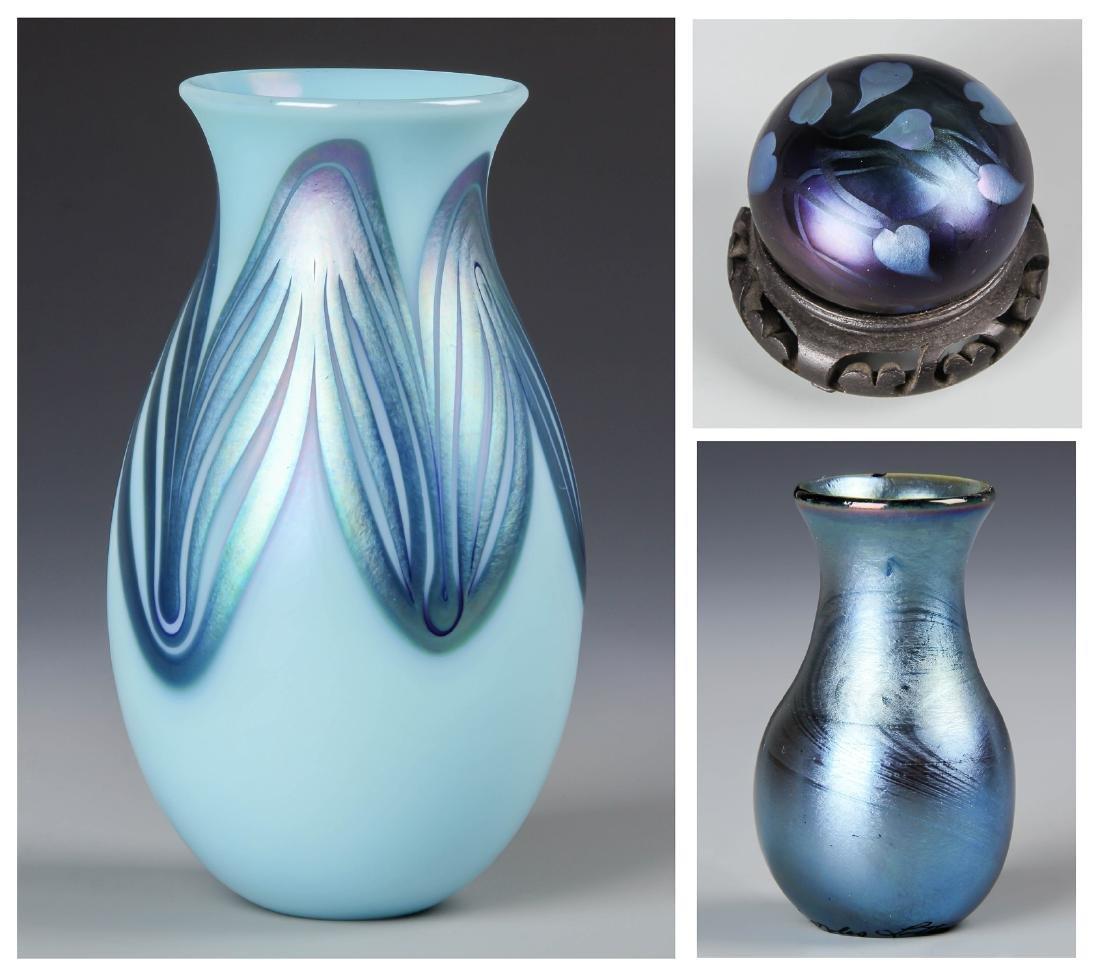 3pc Charles Lotton Studio Art Glass Group