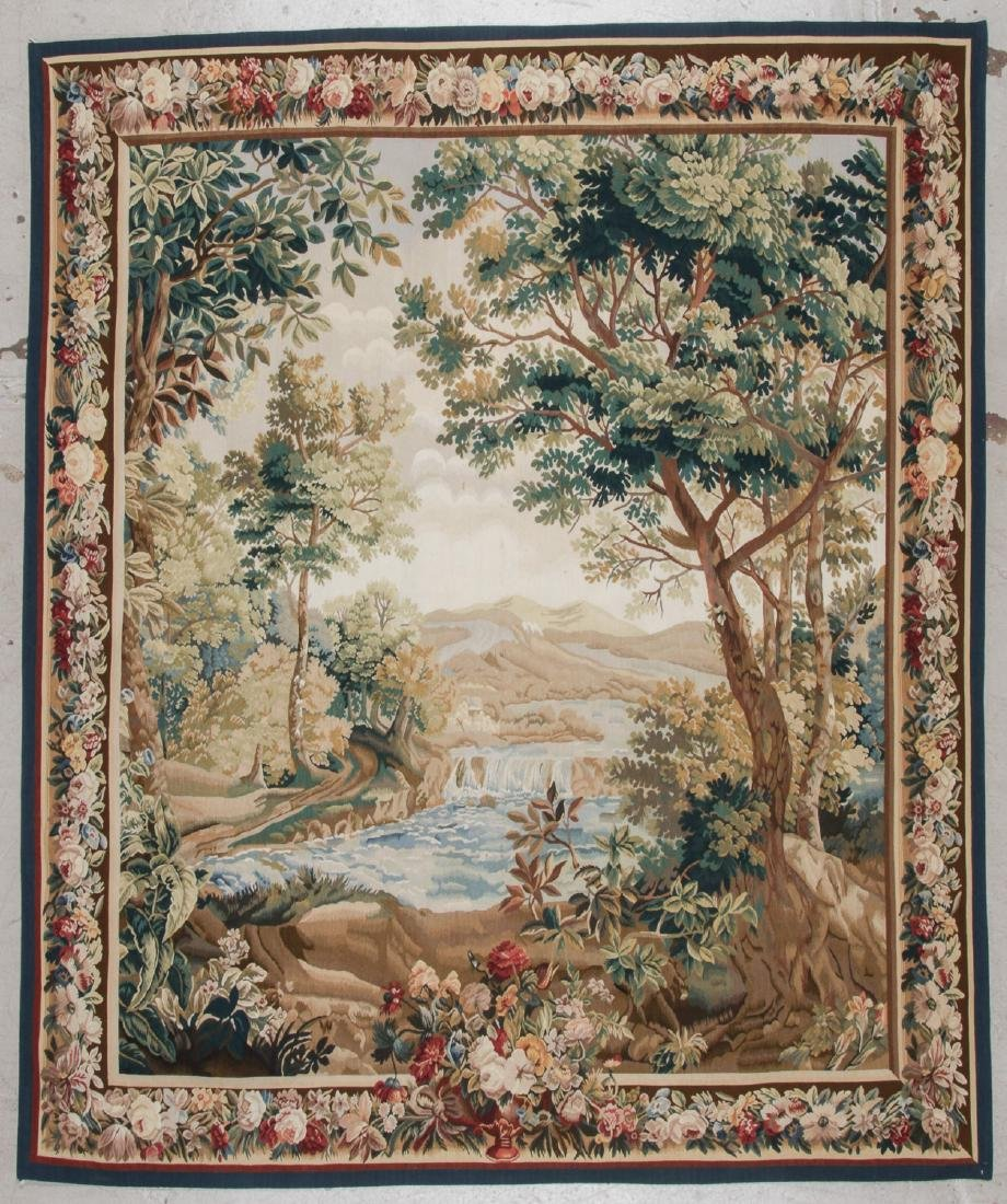 Fine Continental Style Pictorial Tapestry: 95'' x 80''