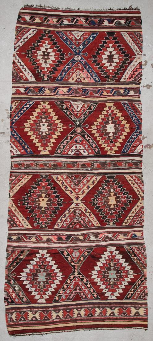 Antique Turkish Kilim: 5'4'' x 13'9'' (163 x 419 cm)