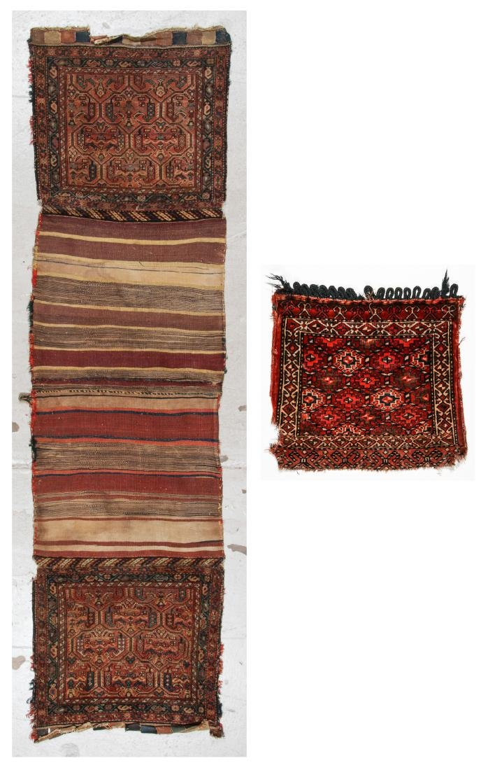 Antique Kurdish Saddle Bags (Open) and Turkmen Bag