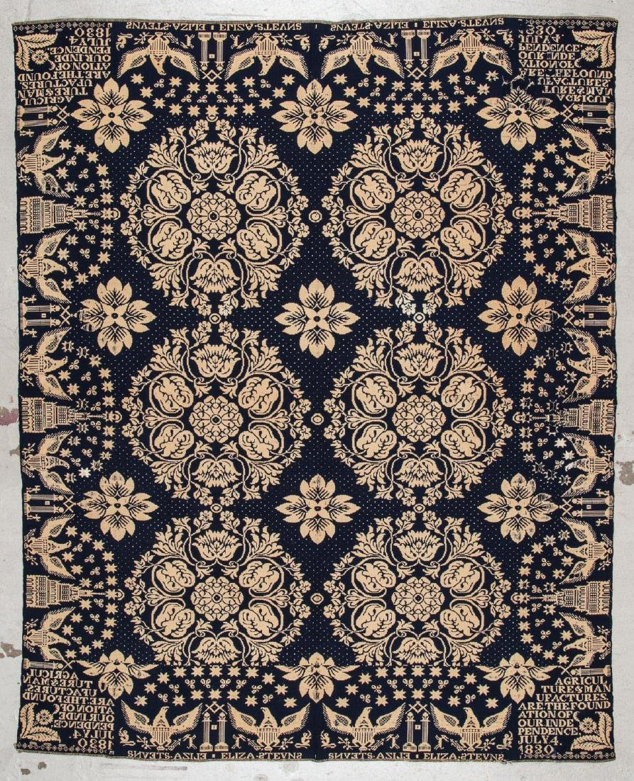 Antique Blue and White American Coverlet