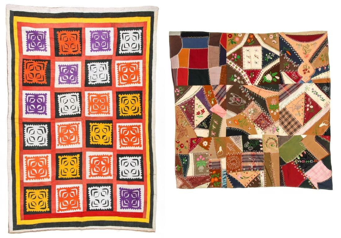 Antique American Crazy Quilt + Indian Applique Quilt