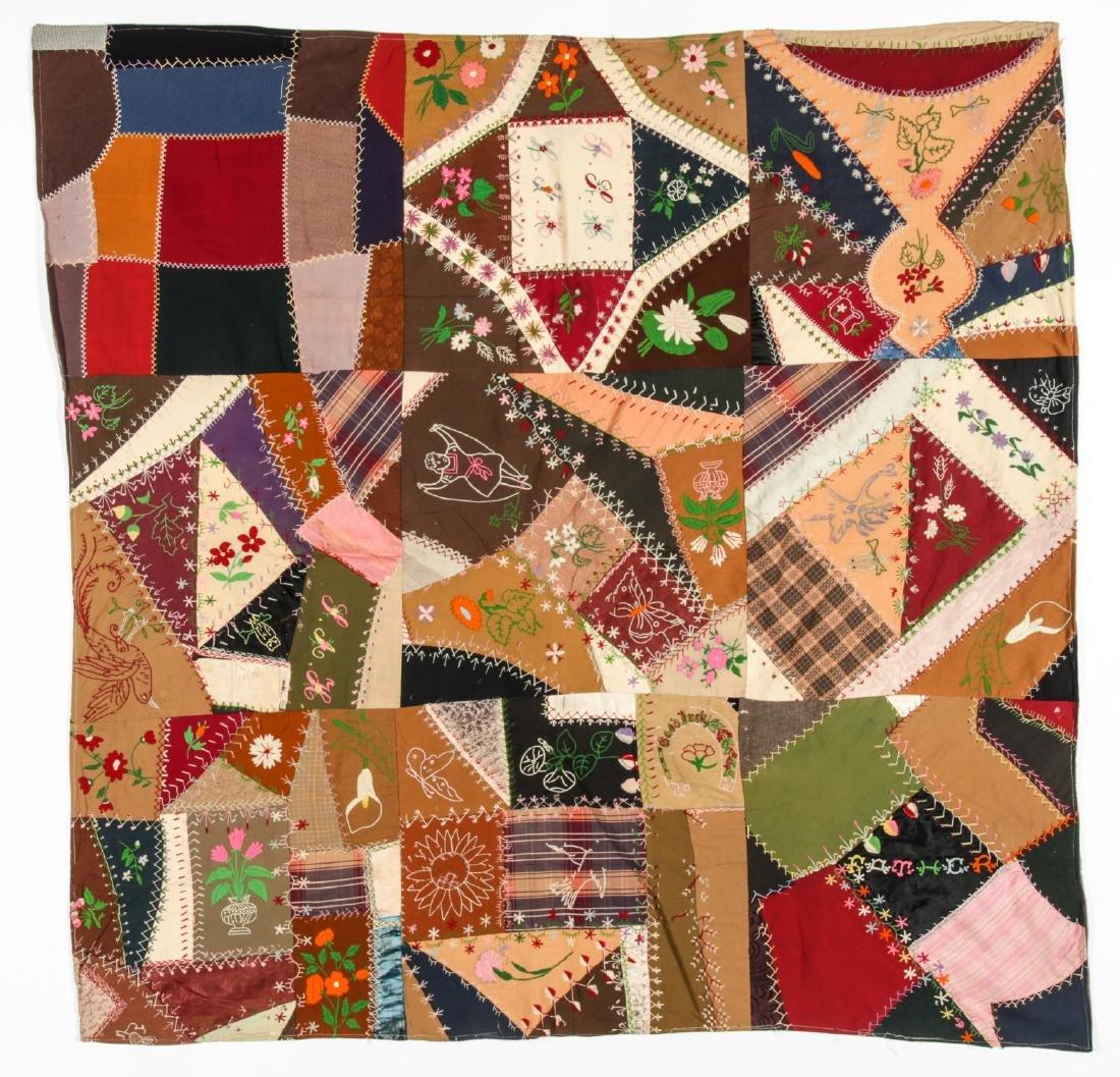 Antique American Crazy Quilt + Indian Applique Quilt - 2