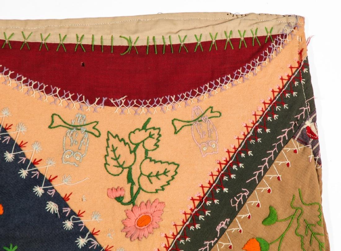 Antique American Crazy Quilt + Indian Applique Quilt - 3