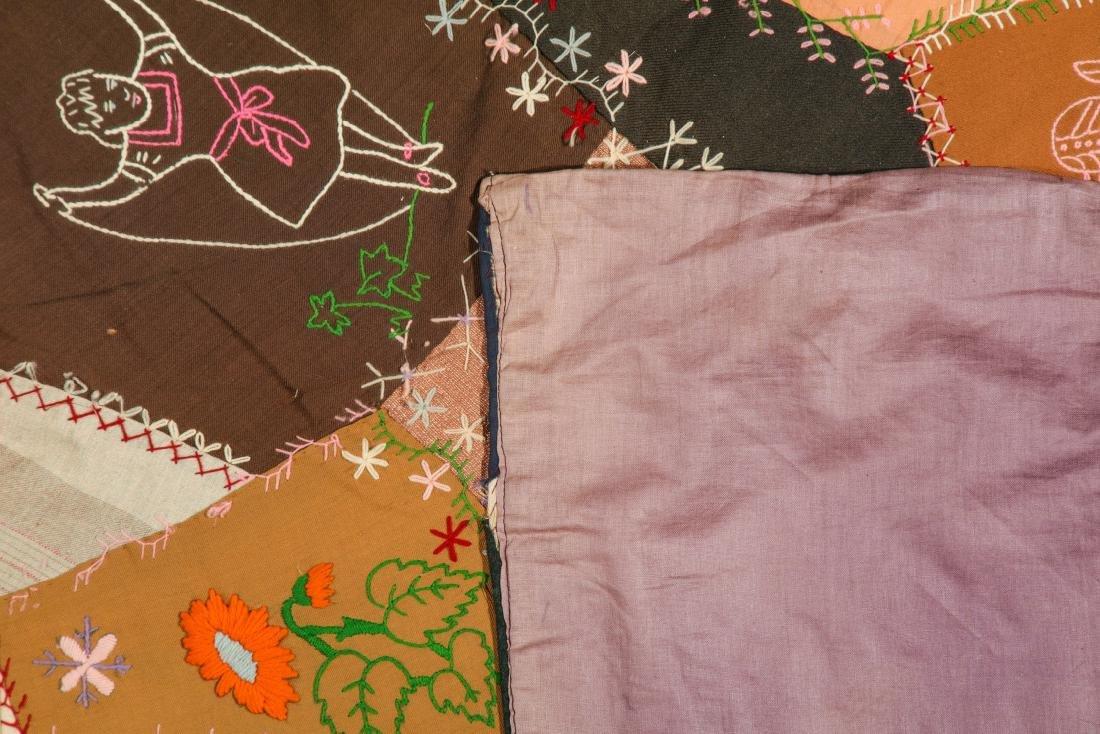 Antique American Crazy Quilt + Indian Applique Quilt - 4