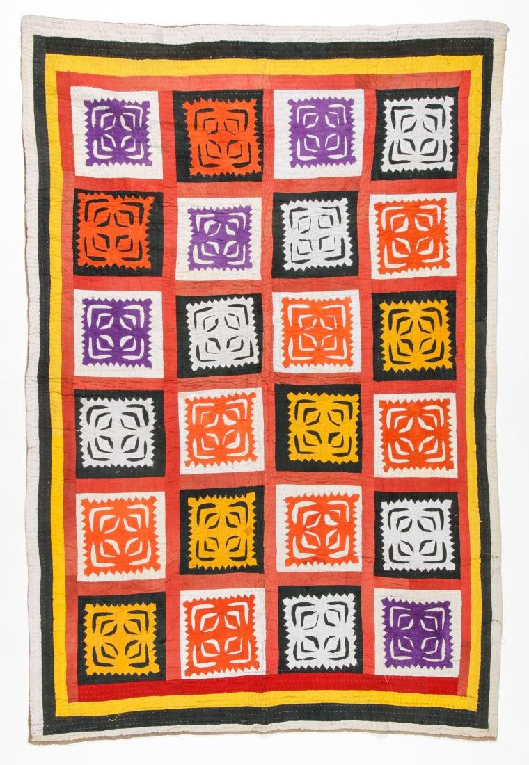 Antique American Crazy Quilt + Indian Applique Quilt - 6
