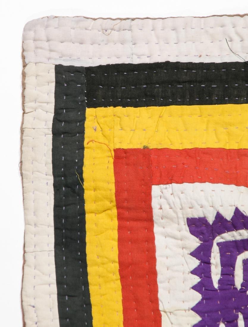 Antique American Crazy Quilt + Indian Applique Quilt - 7