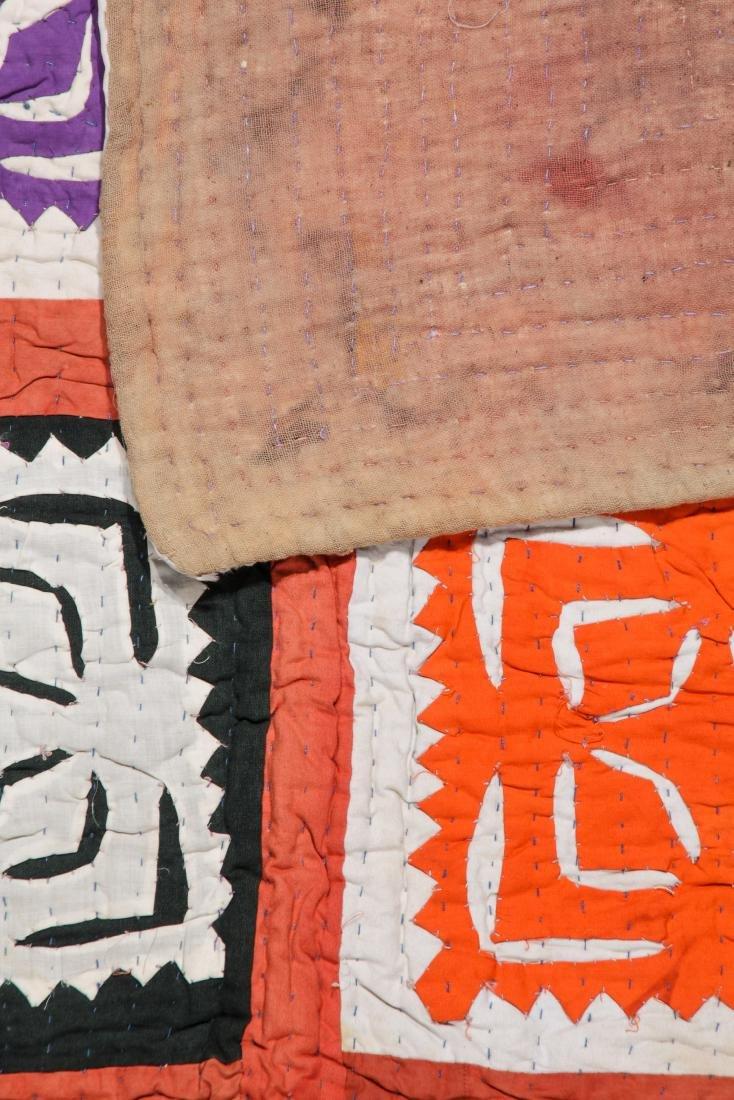 Antique American Crazy Quilt + Indian Applique Quilt - 8