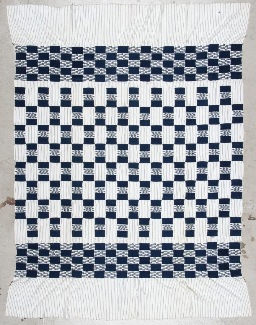 Old West African Ewe Blue and White Cloth, Ghana
