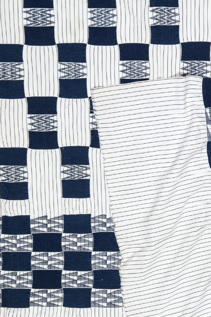 Old West African Ewe Blue and White Cloth, Ghana - 3