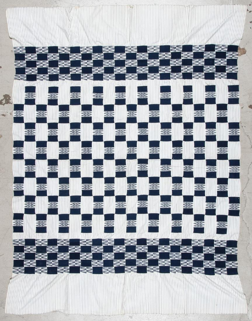 Old West African Ewe Blue and White Cloth, Ghana - 4