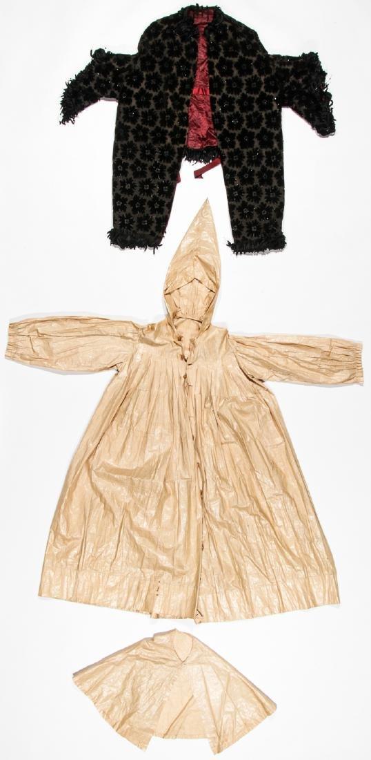 Rare 19th C. Glazed Cotton Rainwear & Woman's Frock