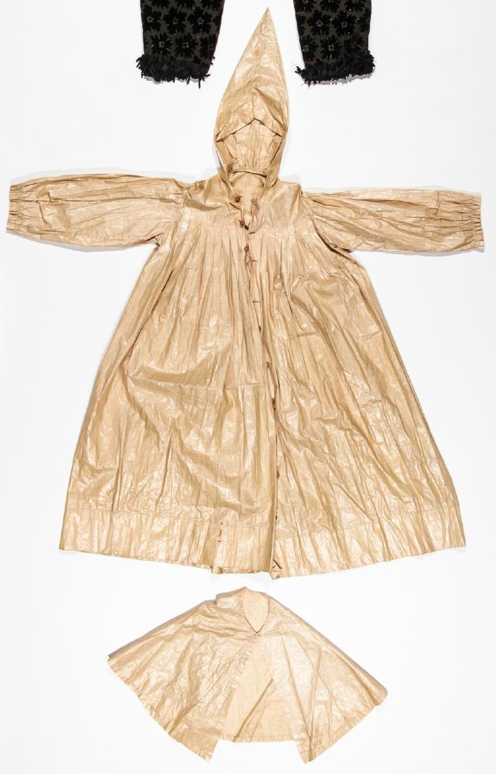 Rare 19th C. Glazed Cotton Rainwear & Woman's Frock - 4