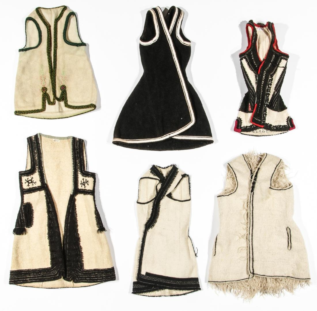 6 Old Wool & Felt Embroidered Balkan Folk Costumes