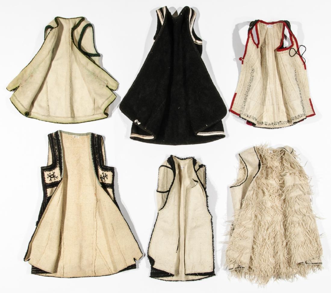 6 Old Wool & Felt Embroidered Balkan Folk Costumes - 4