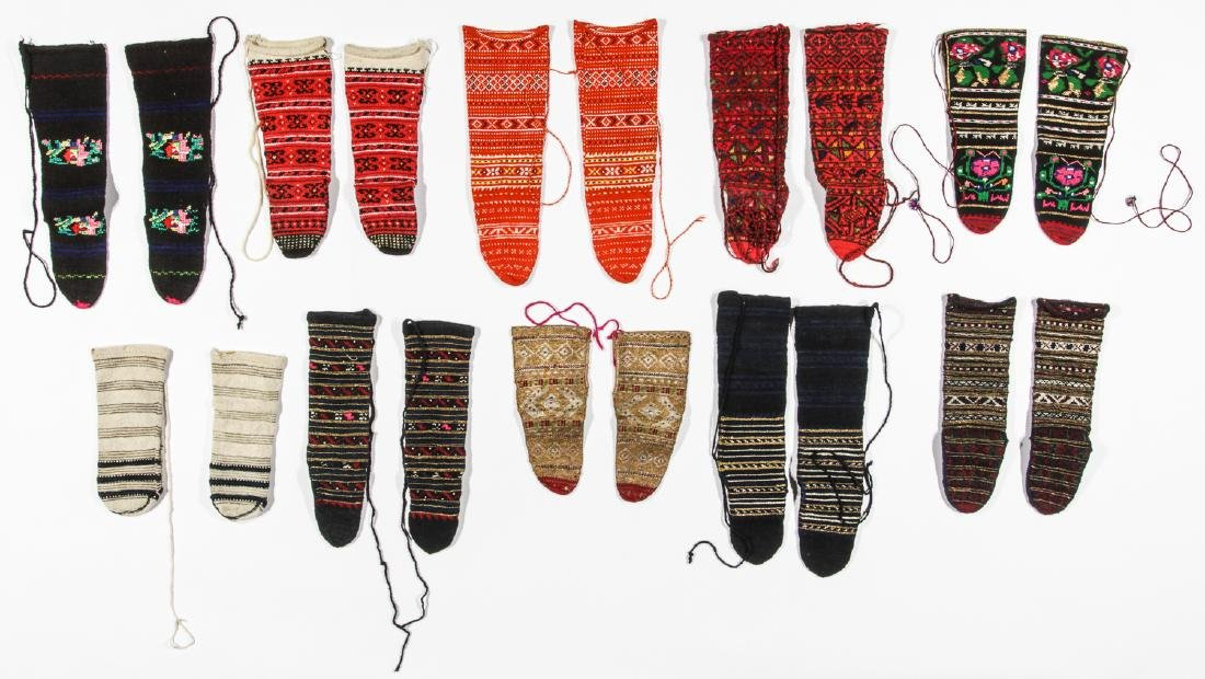 Colorful Collection of 10 Pair of Old Balkan Folk Socks