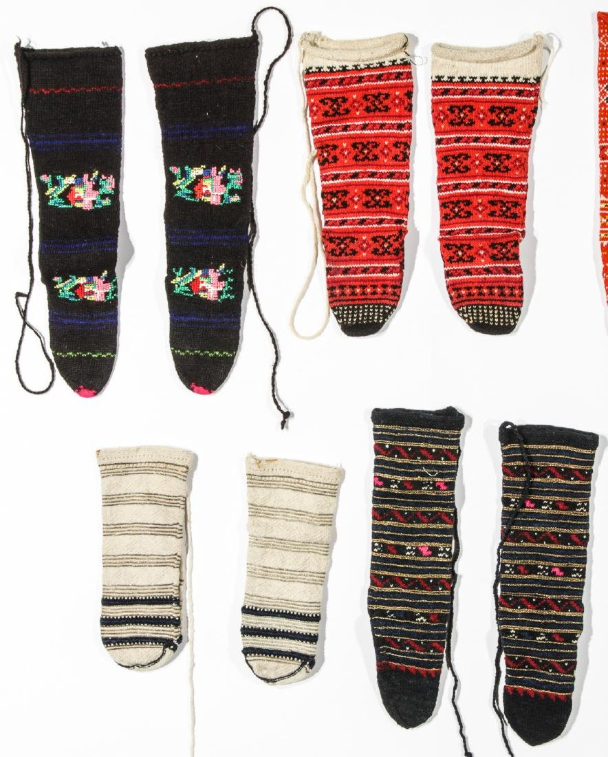 Colorful Collection of 10 Pair of Old Balkan Folk Socks - 2