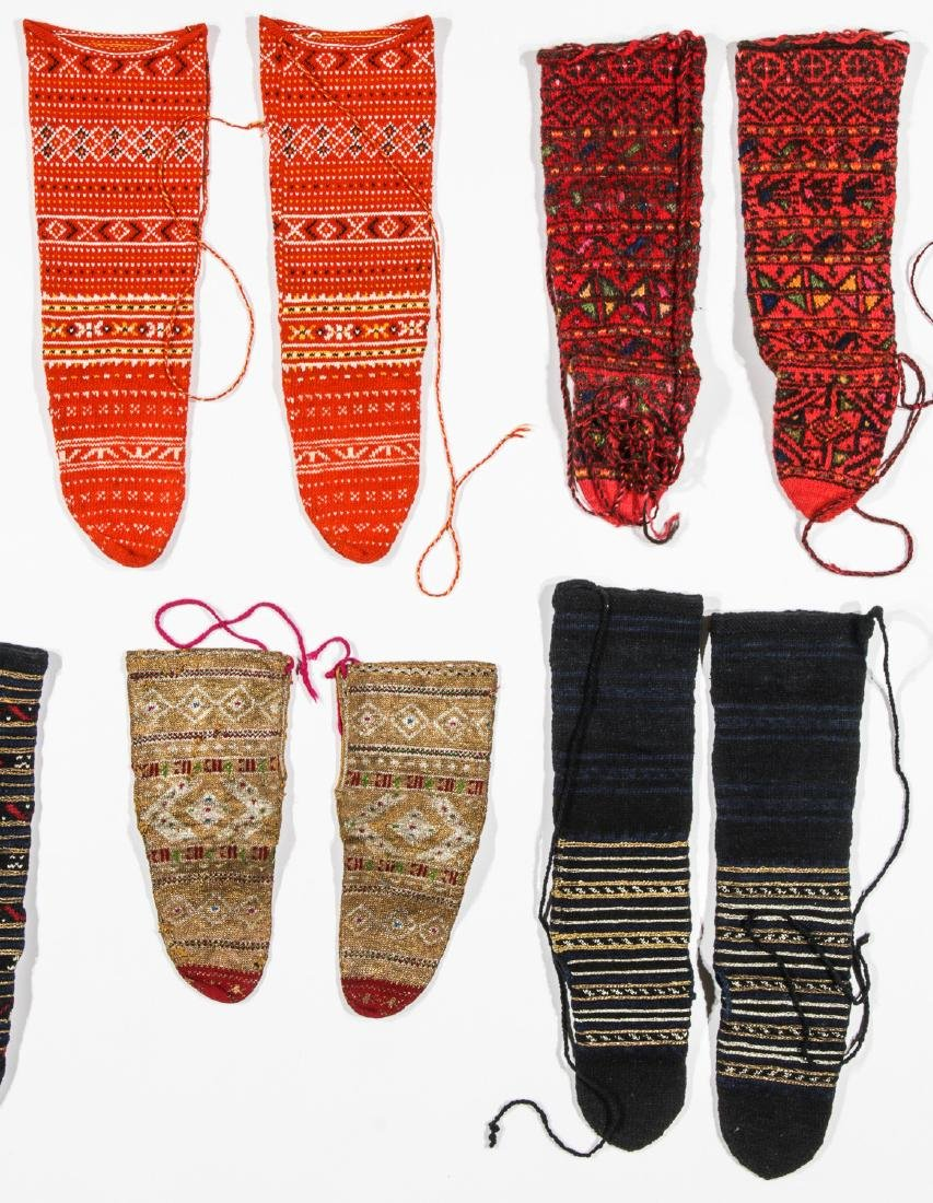 Colorful Collection of 10 Pair of Old Balkan Folk Socks - 3