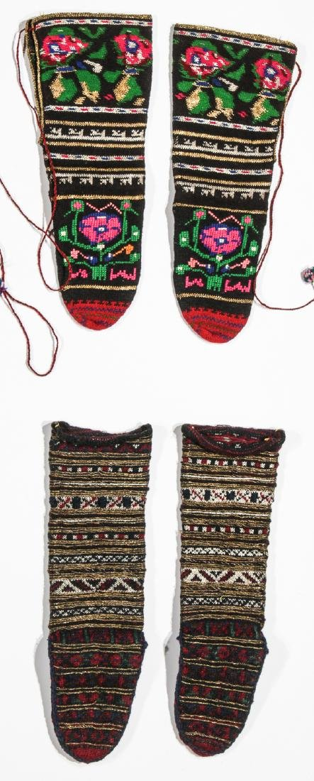 Colorful Collection of 10 Pair of Old Balkan Folk Socks - 4