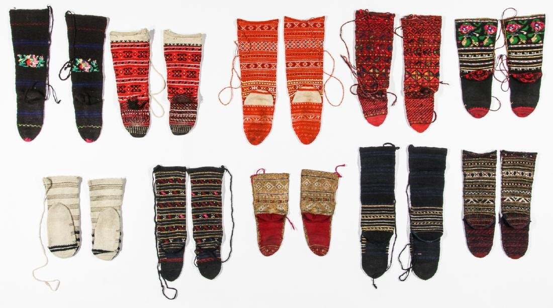 Colorful Collection of 10 Pair of Old Balkan Folk Socks - 5