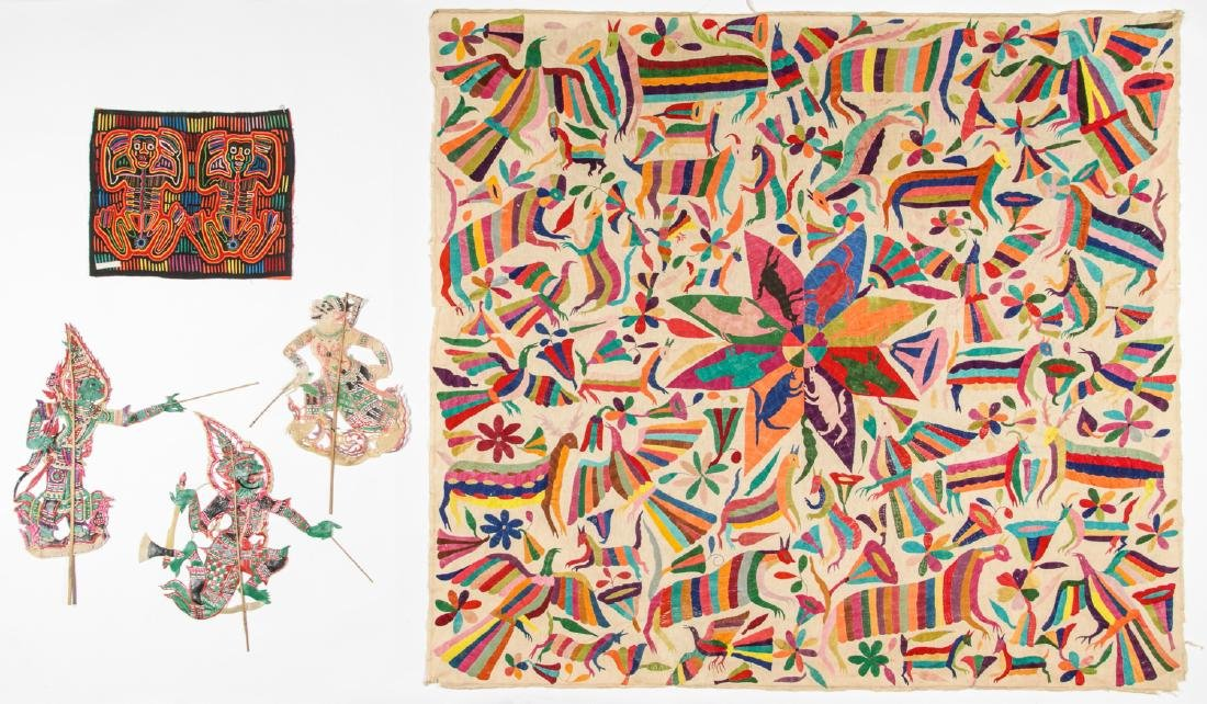 Ethnographic Lot of Textiles and Puppets