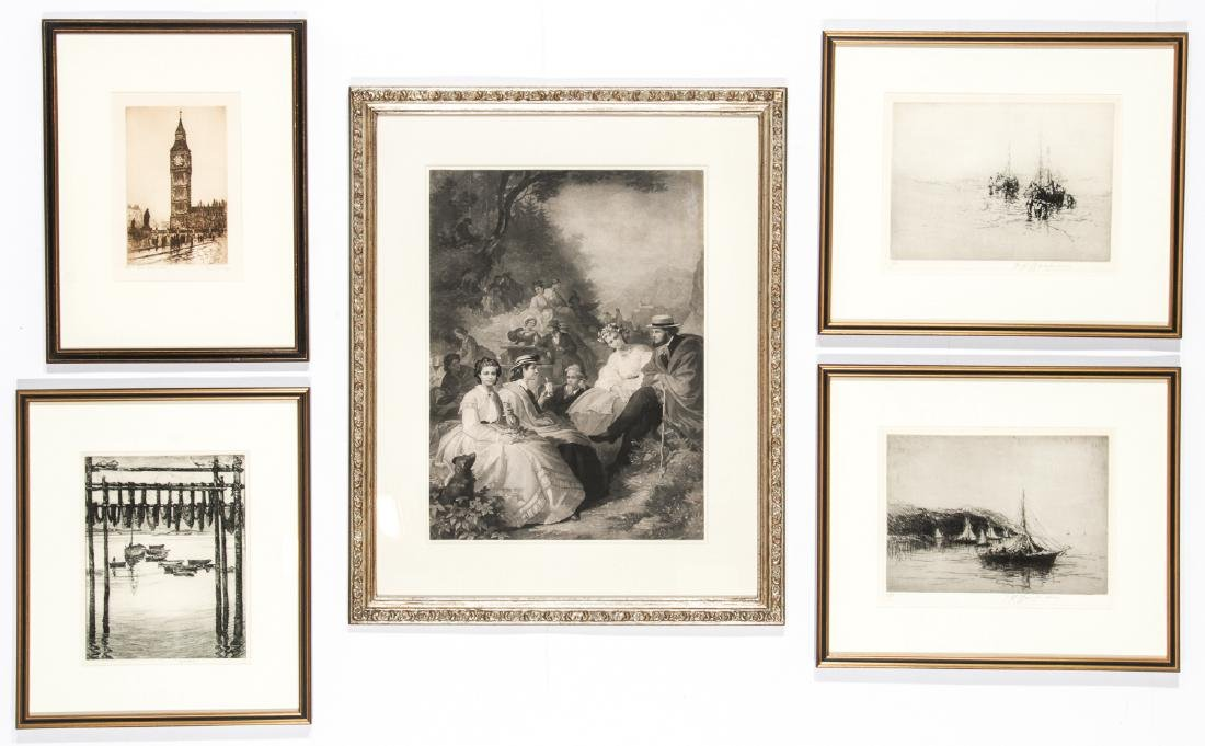 5 Framed Engravings by Unknown Artists