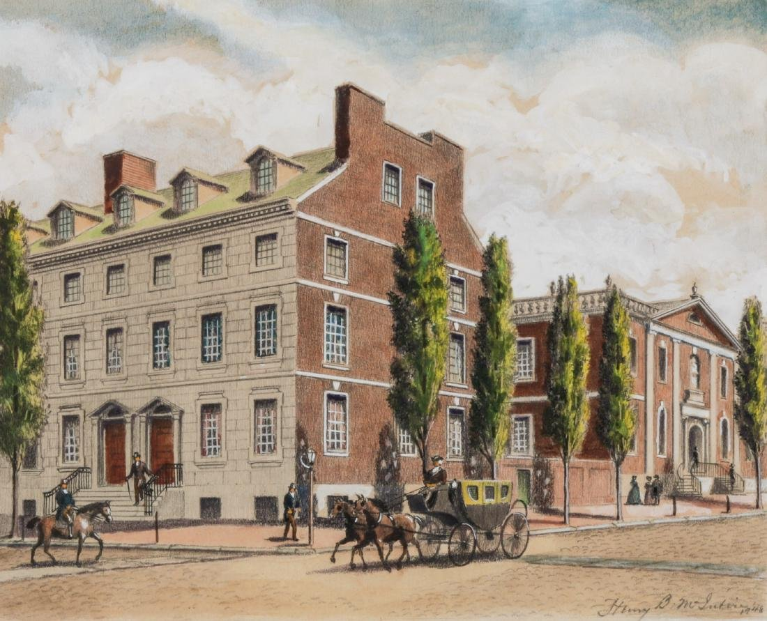 Henry B. McIntire Signed Drawing, Philadelphia Street