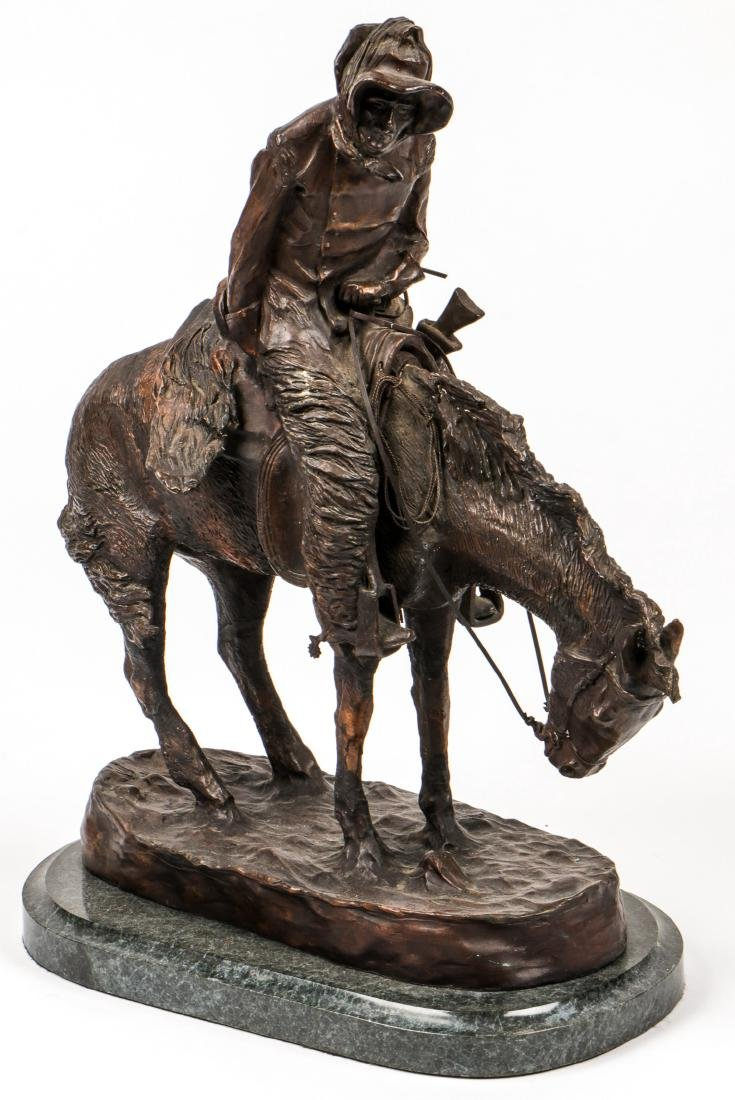 After Frederic Remington Signed Bronze Statue