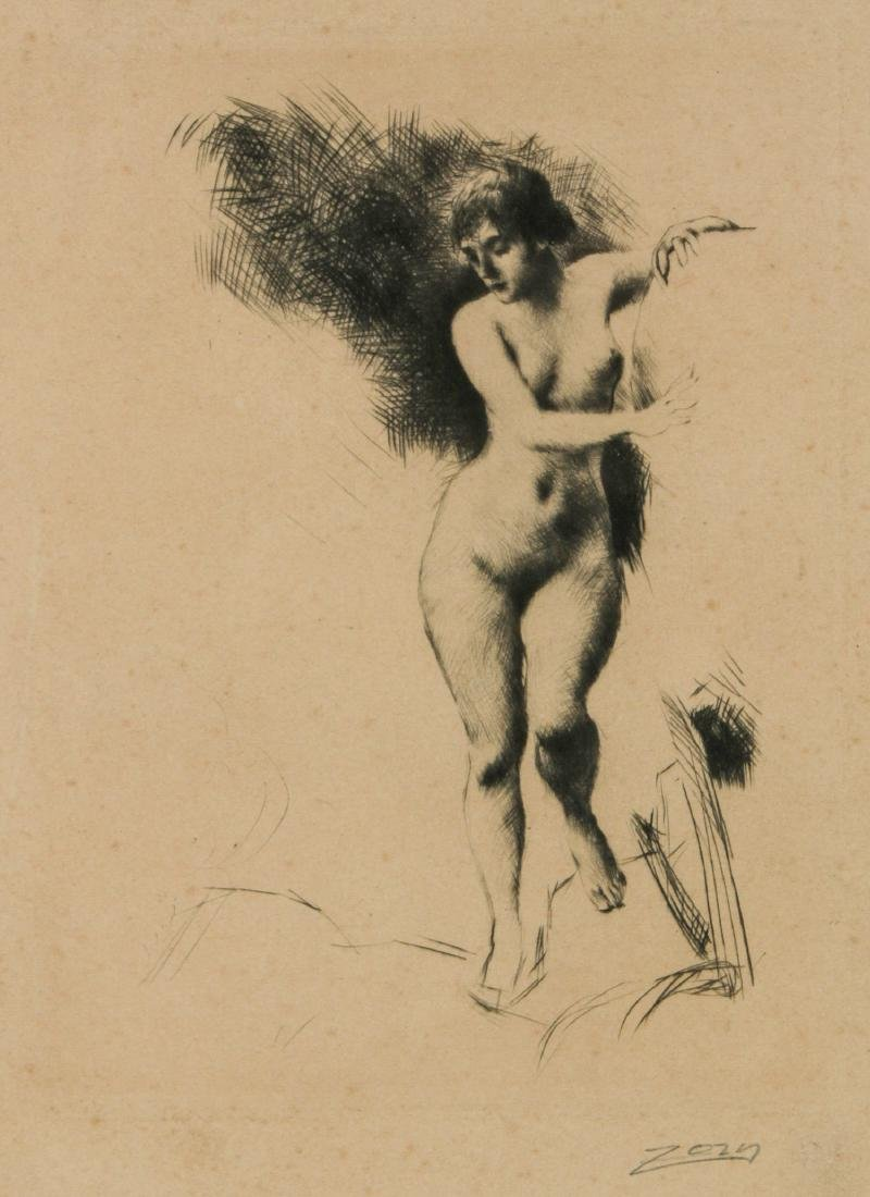 """Attributed to Anders Zorn (Swedish, 1860-1920) """"Nude"""""""