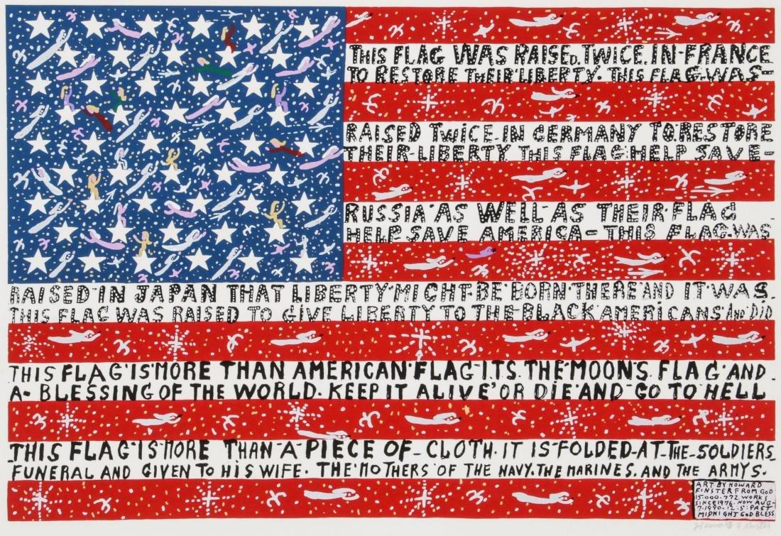 """Howard Finster (1916-2001) """"American Flag"""""""
