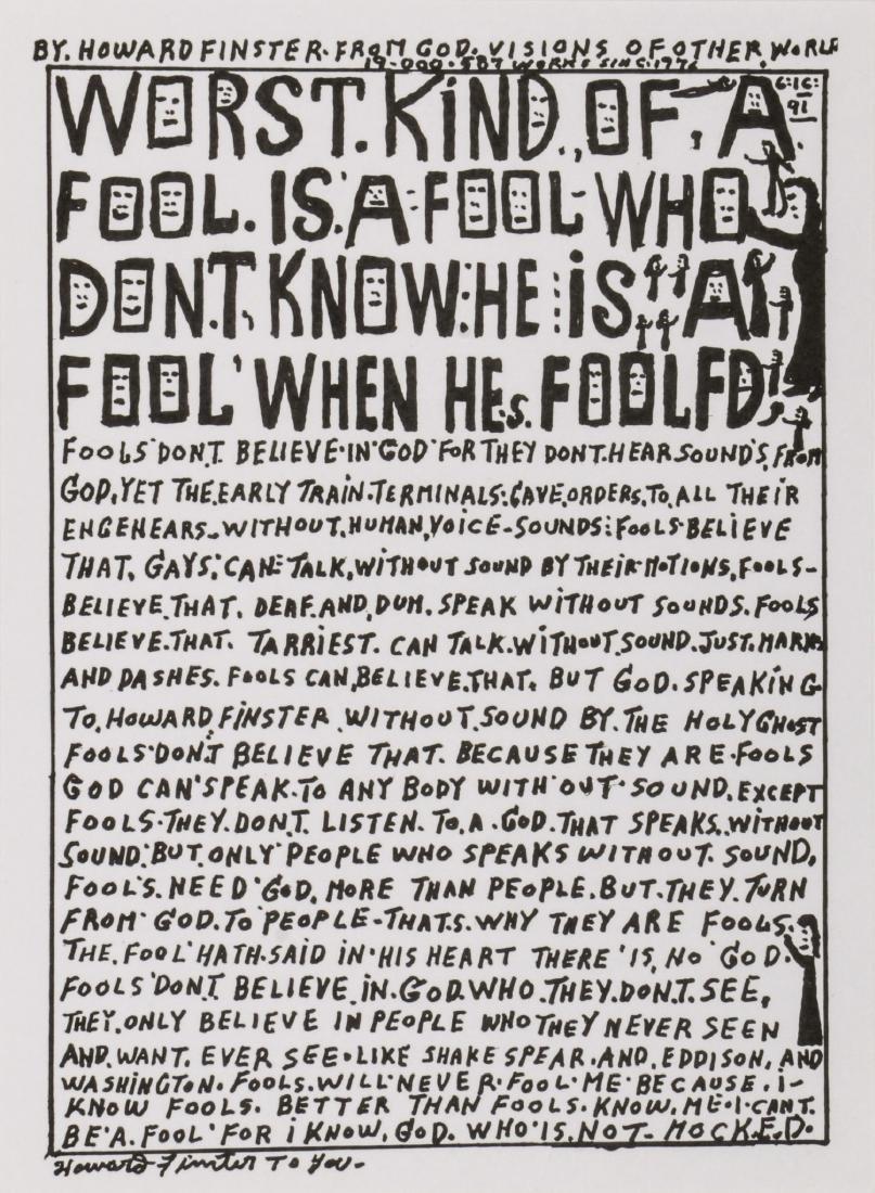 """Howard Finster (1916-2001) """"Worst Kind of Fool"""""""