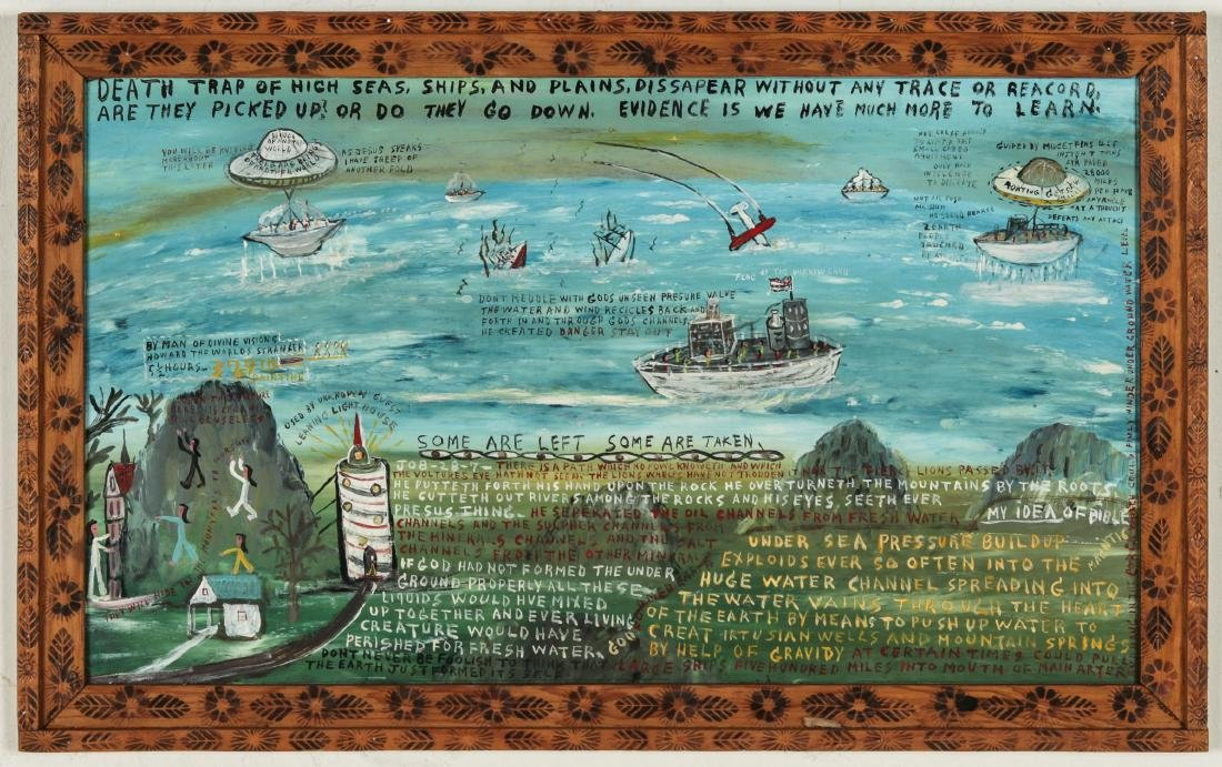 """Howard Finster (1916-2001) """"Death Trap of the High"""