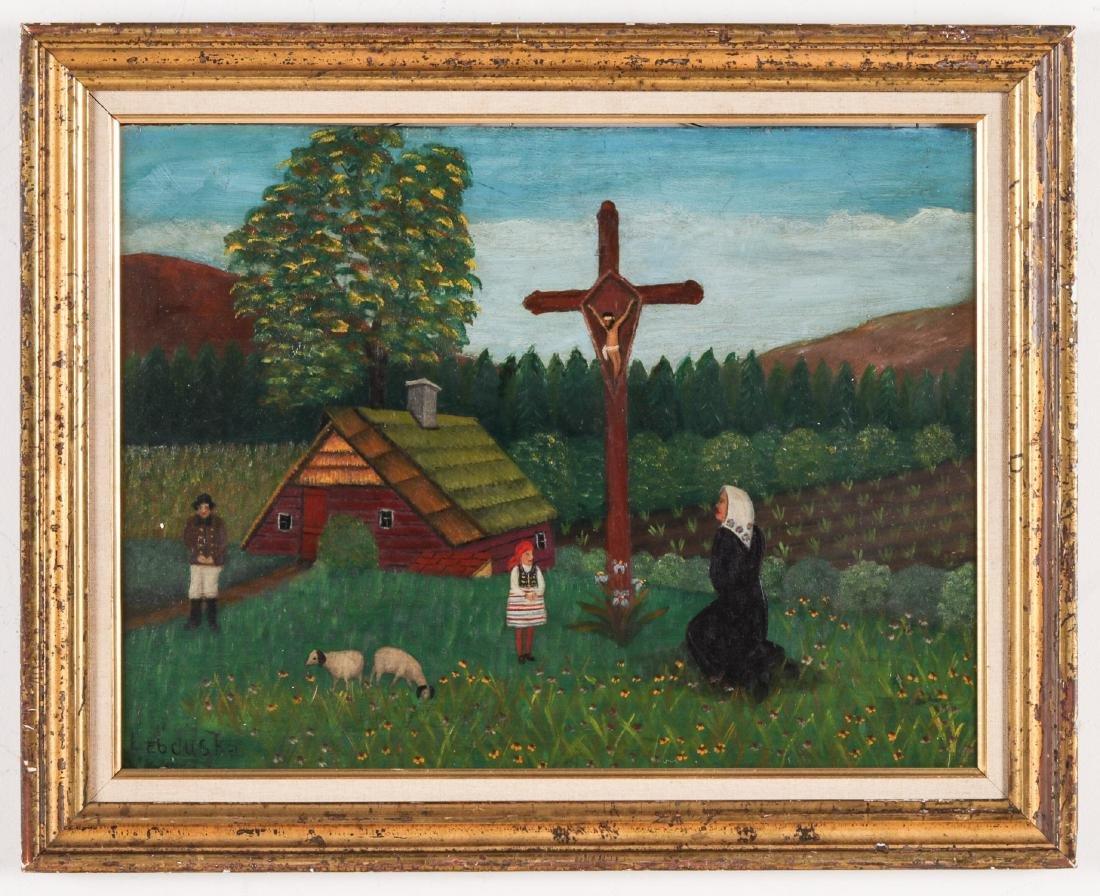 """Lawrence Lebduska (1894-1966) """"Moment of Prayer"""""""