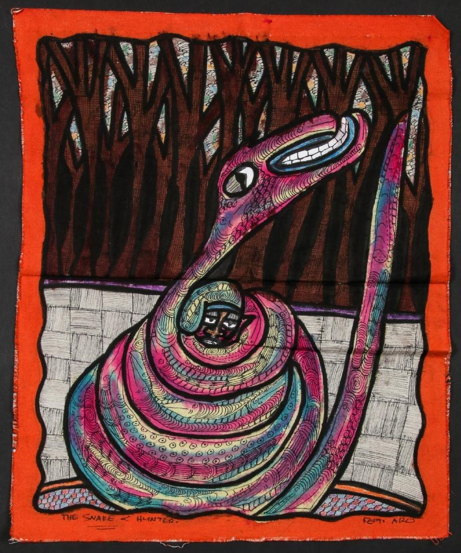 "Femi Aro (Nigerian, 20th c.) ""The Snake and Hunter"""