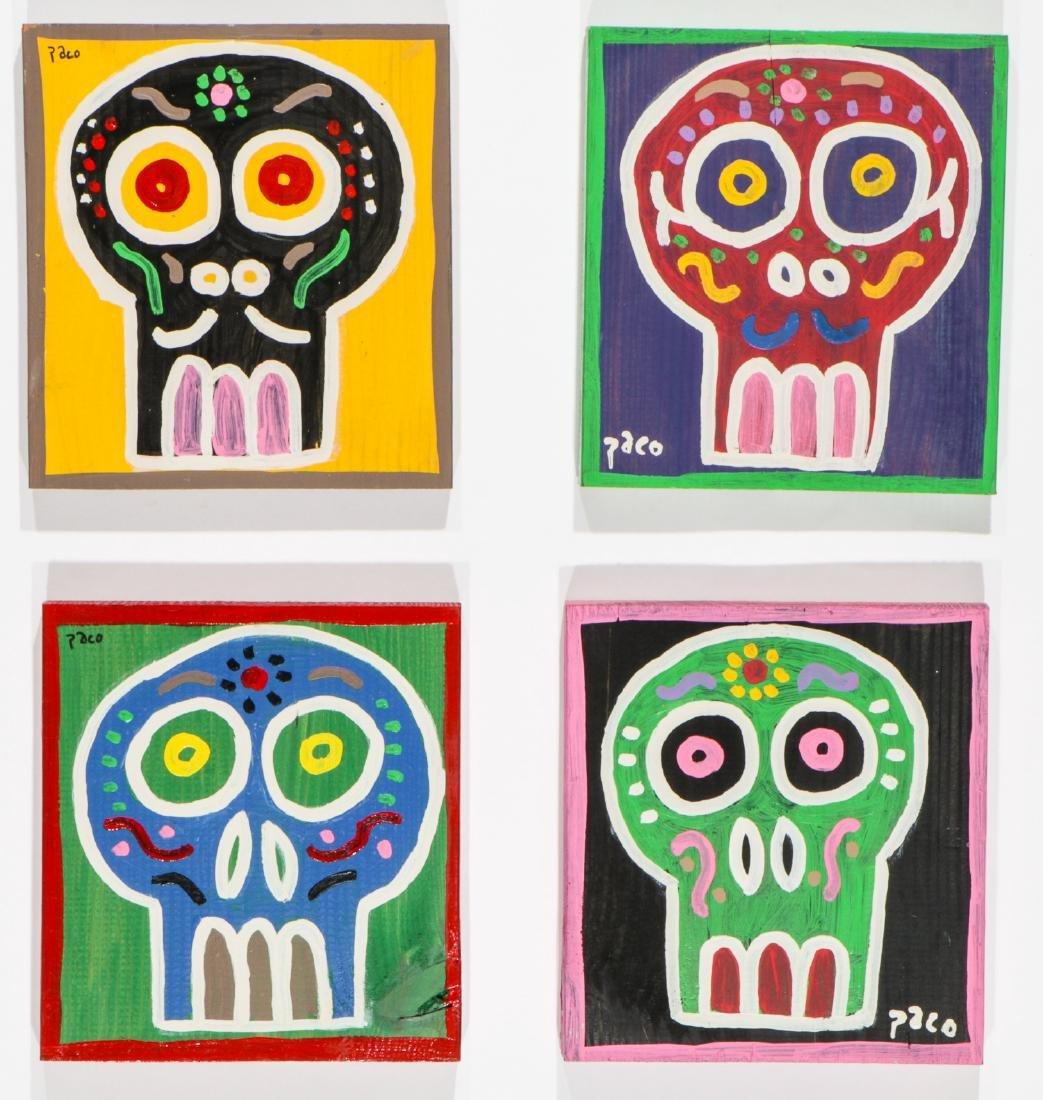 """Felici La Muerte """"PACO"""" (20th c.) 4 Skull Paintings"""