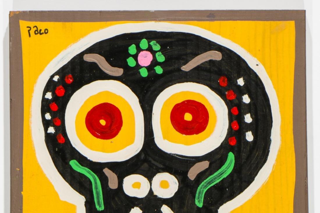 """Felici La Muerte """"PACO"""" (20th c.) 4 Skull Paintings - 2"""