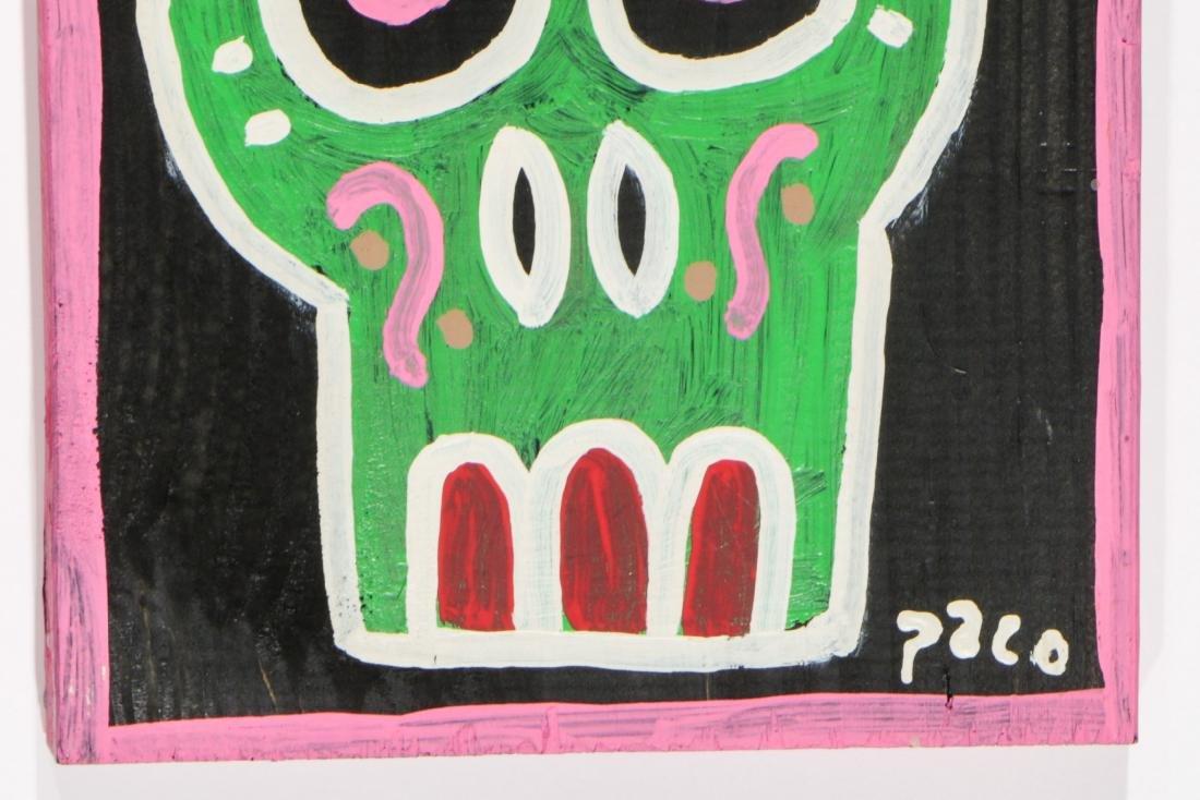 """Felici La Muerte """"PACO"""" (20th c.) 4 Skull Paintings - 5"""
