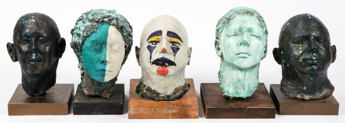 Gina Gruenberg (20th c.) 5 Painted Plaster Cast Heads