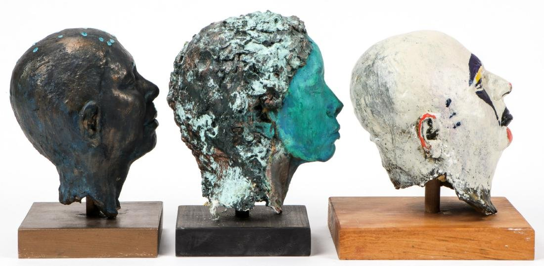 Gina Gruenberg (20th c.) 5 Painted Plaster Cast Heads - 2