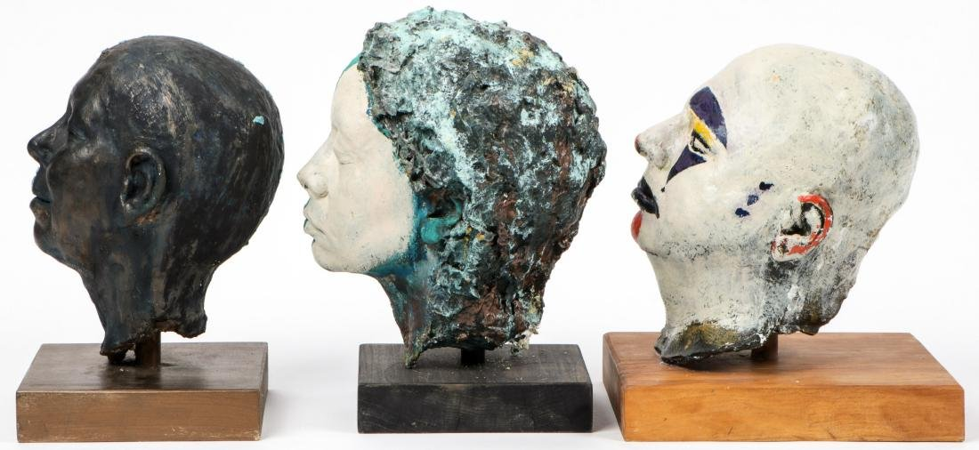 Gina Gruenberg (20th c.) 5 Painted Plaster Cast Heads - 4
