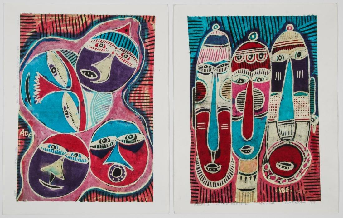 2 Ade Oyelami (20th c.) Batik Paintings
