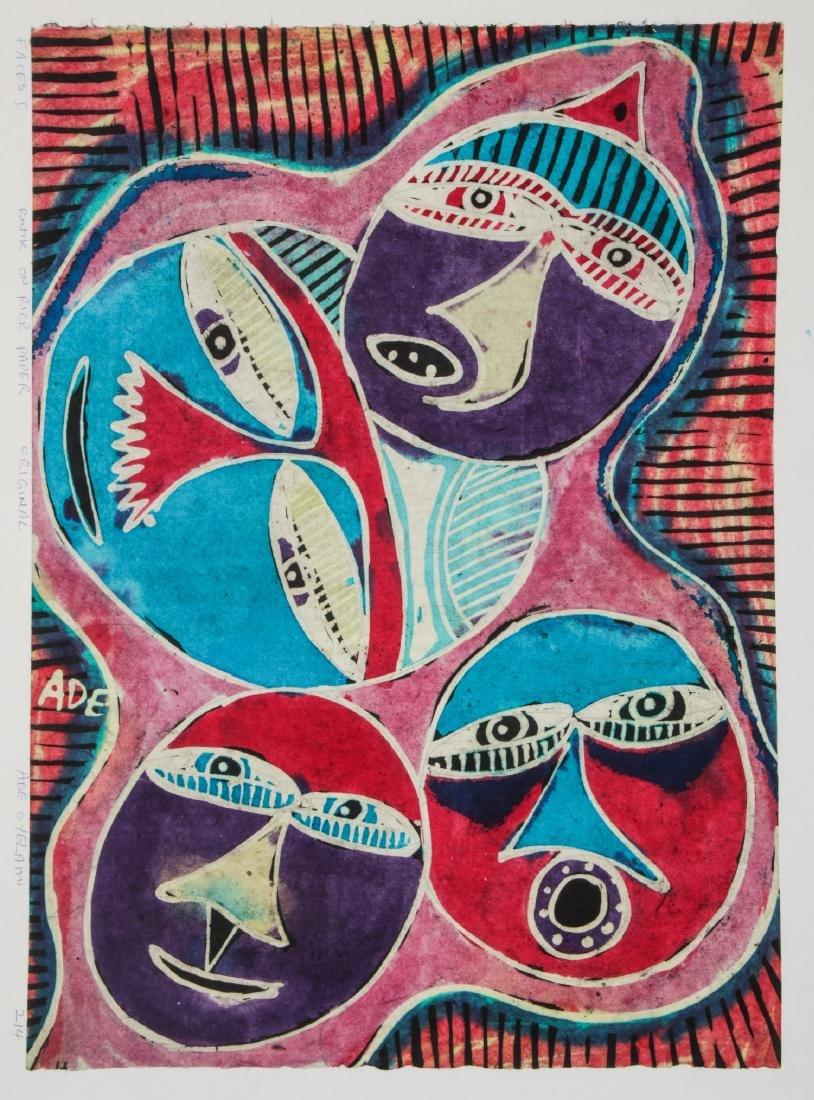 2 Ade Oyelami (20th c.) Batik Paintings - 2