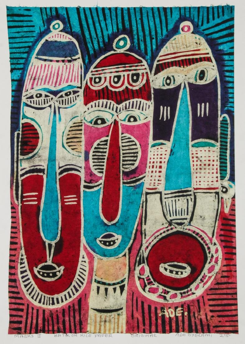 2 Ade Oyelami (20th c.) Batik Paintings - 5