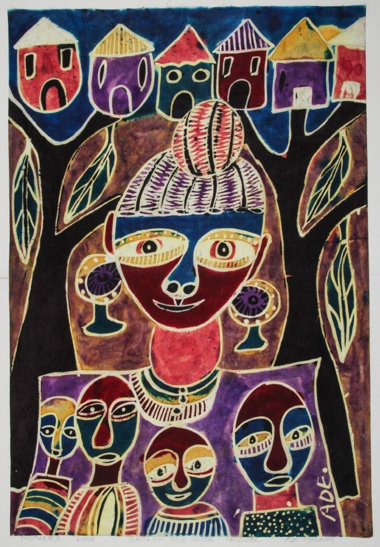 Ade Oyelami (Nigerian, 20th c.) Batik Painting on Rice