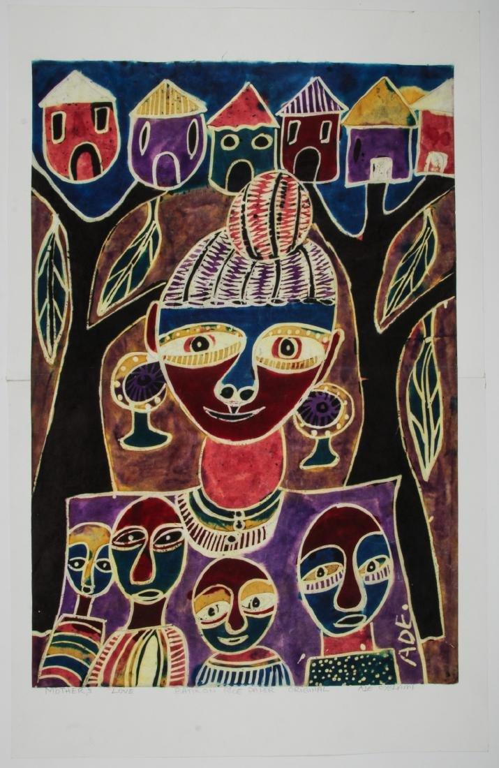 Ade Oyelami (Nigerian, 20th c.) Batik Painting on Rice - 2