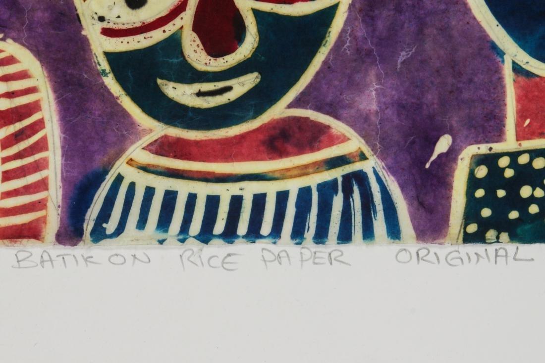 Ade Oyelami (Nigerian, 20th c.) Batik Painting on Rice - 4