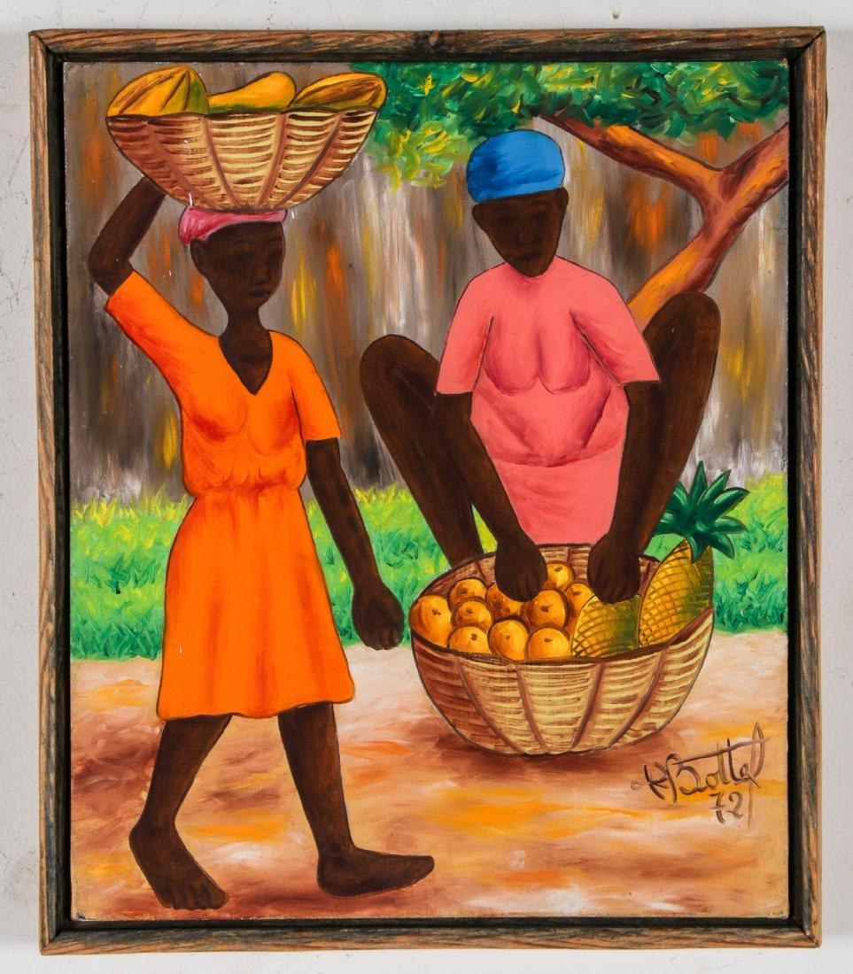 Henry Bottex (Haitian, 20th c.) 3 Paintings - 8