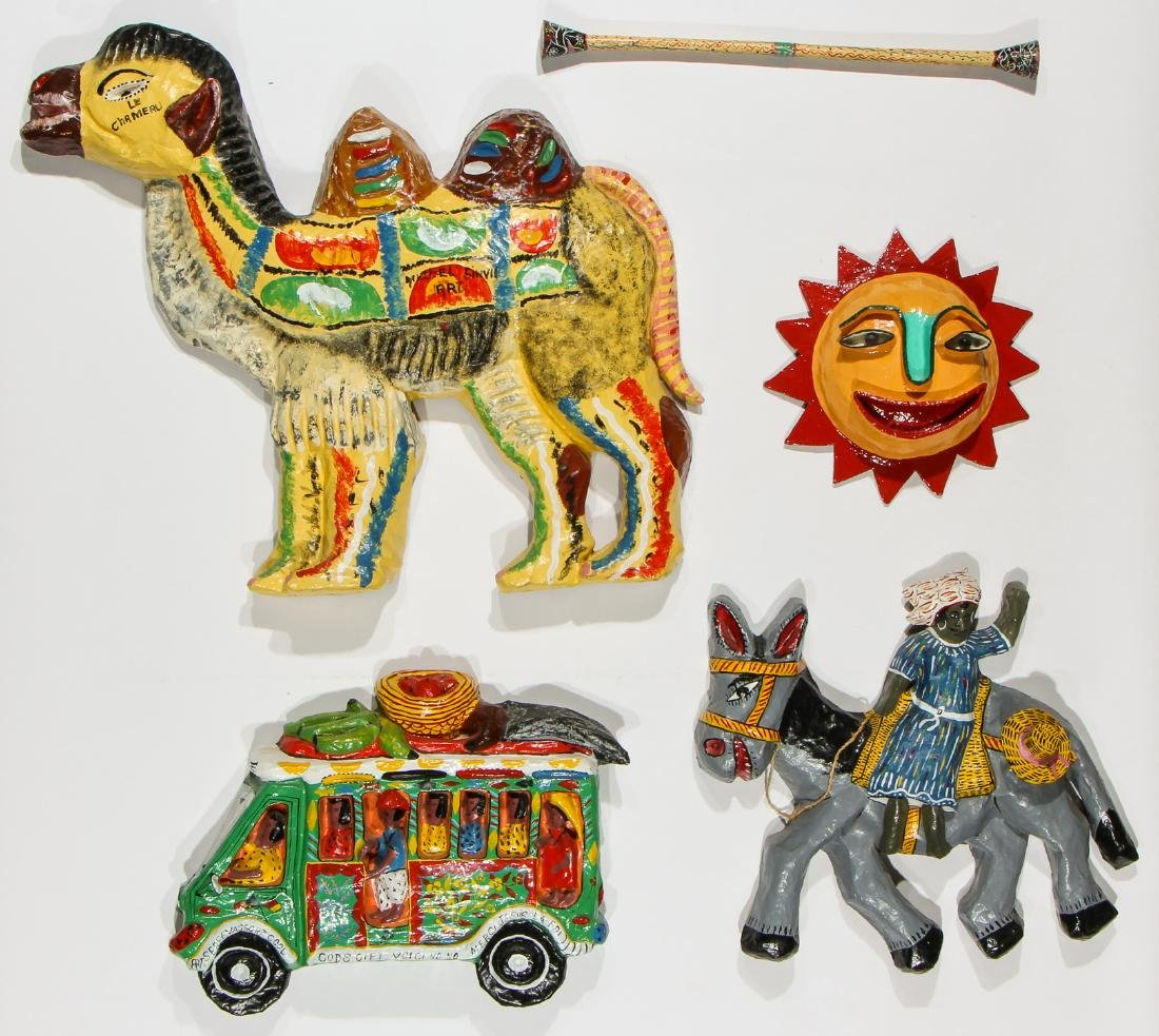Group of 4 Haitian (20th c.) Paper Mache Sculptures and